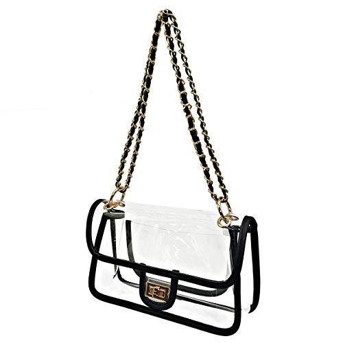 Laynos Clear Purse Turn Lock NFL Approved Chain Waterproof Crossbody Shoulder Bags Handbags ()