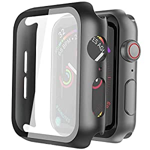 Misxi Hard PC Case with Tempered Glass Screen Protector Compatible with Apple Watch Series 6 SE Series 5 Series 4 44mm…