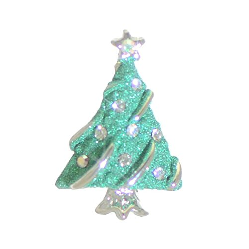 CHRISTMAS SPRUCE Silver plated Green Christmas Tree Brooch by Rodney