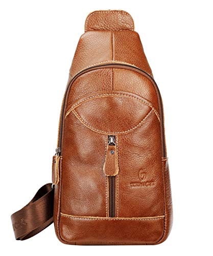 Genuine Leather Sling Bag For Men Women Sling Backpack with Charging Port Crossbody Backpack For Travel - Brown