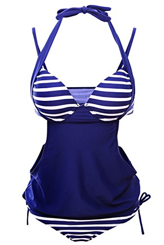 Firstmall Ropa de baño Mujer Tankinis Trajes de una pieza Sólido empalme de rayas Halter del Traje de baño Azul marino