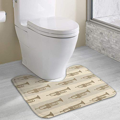 Bennett11 Trumpets U-Shaped Toilet Floor Rug Non-Slip Toilet Carpets Bathroom Carpet 19.2″x15.7″