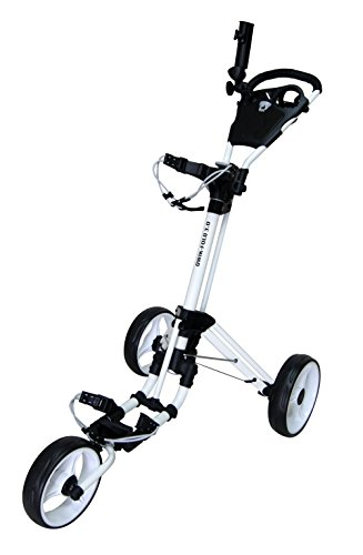 QWIK-FOLD 3 WHEEL GOLF TROLLEY PUSH PULL GOLF CART - FOOT BRAKE - ONE...