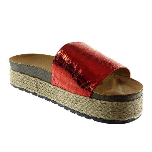 Zapatillas Sandalias cm Mules Brillantes Vendimia Stile Moda Angkorly Plataforma Plataforma 4 Rojo Slip Mujer Cuerda on Corcho dAxEC