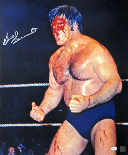 Bruno Sammartino Signed Autographed 16X20 Photo Vintage Bloody Face OA - Autographed Wrestling Photos