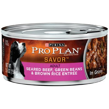 Purina Pro Plan Savor Adult Seared Beef, Green Beans & Rice Entree in Gravy – 24×5.5oz