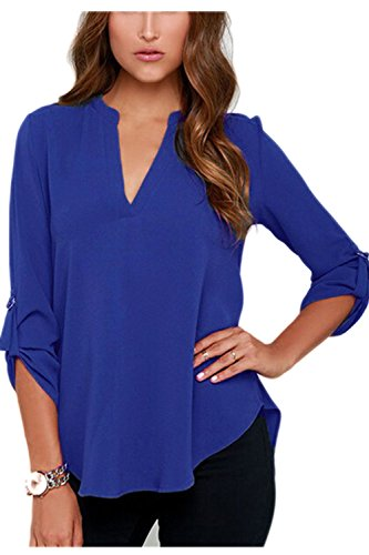 La Mujer Es Elegante Blusa De Manga Larga Con Cuello En V Profundo Basic Loose T - Shirt Blue