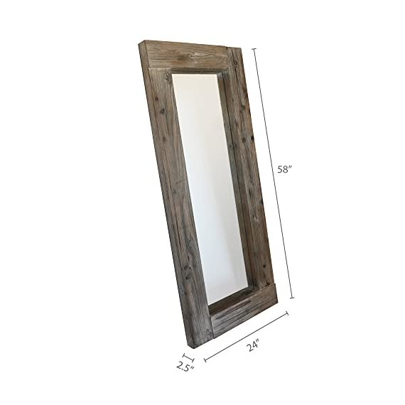 Barnyard Designs Long Decorative Wall Mirror, Rustic Distressed Unfinished Wood Frame, Vertical and Horizontal Hanging… - FULL LENGTH FLOOR OR HANGING WALL MIRROR - The generous size of this long, full length wood framed mirror makes it functional as well as decorative. Perfect to lean against the wall as a body mirror or mounted on the wall. This mirror comes with pre-installed wall mounting hooks. DECORATIVE ACCENT MIRROR - A large statement piece that will open up a room and create the illusion of space, this rustic barn wood leaning or wall mirror will add timeless appeal and style to your home. Perfect addition to an entryway, living room or bedroom. UNFINISHED WOOD DESIGN - Lend a vintage-inspired look to your home decor with this big standing farmhouse mirror. A rectangular unfinished natural-looking wood frame complements the rustic theme - mirrors-bedroom-decor, bedroom-decor, bedroom - 41ZhebsMflL. SS570  -
