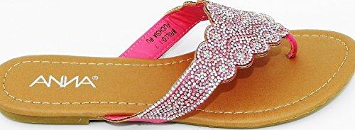 Womens Anna Slynge Tilbake Perler Rhinestones Flat T-stropp Sandal Sko Fuchsia-1