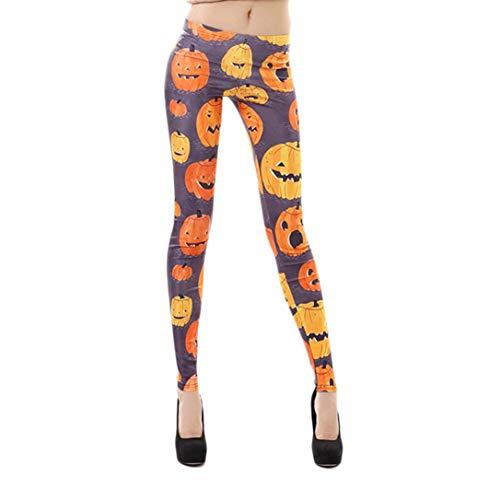 JOFOW Women Leggings,Halloween Solid Orange Cute Pumpkin Face Print Skinny Elastic Pencil Trousers Yoga Pants for Women (M,Orange) -