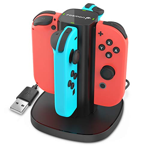 Fosmon Nintendo Switch Joy-Con Charging Dock, 4-in-1 High Speed Charger Station Stand with LED Indicators for Joy Con & Nintendo Switch Joy-Con NES Controllers (Switch Wireless Version only)