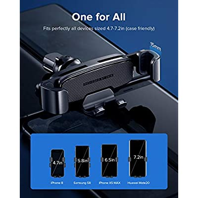 INIU Car Phone Mount, Gravity Auto Lock & Release Air Vent Phone Holder for Car, 360° Universal Hands Free Car Cell Phone Holder for iPhone 11 Max Pro XS X 8 Plus Samsung S10 Google Oneplus LG GPS etc