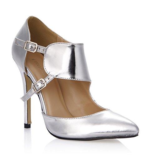 Frauen Arbeiten Gl?nzende Silberne Stilett-hohe Verfolgte Pumpen Um Glanzendes Silber