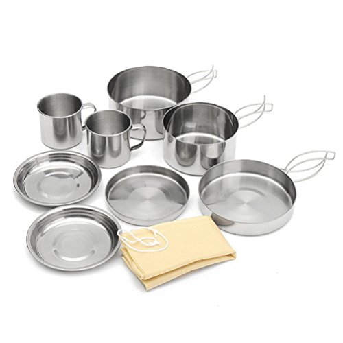 8Pcs/ Set Portable Outdoor Cooking Camping Hiking Cookware Picnic Bowl Pot Pan (Chef Camp Stove Alpine)