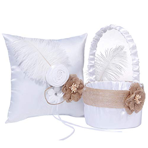 - M&A Decor Wedding Flower Girl Basket Ring Bearer Pillow Elegant White Satin Set with Feather Burlap Flowers,2019 New