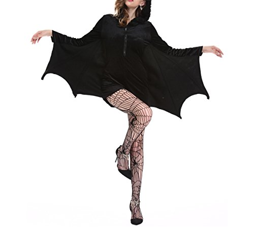 Womens Sexy Cat Bat Halloween Costume Vampire Bat Dress (Adult Coatumes)
