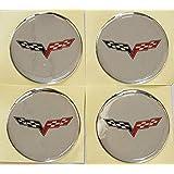 "SET OCVFG55-S CHEVY CORVETTE Z06 C6 FLAGS Emblem Logo Wheel Rim Center Hub Cap Sticker Decal 2.16"" (55MM)"
