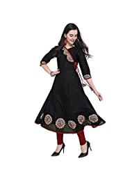Divine International Trading Co Women's Cotton Slub Multi-Color Angarkha Style Long Anarkali Printed Kurti