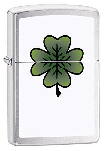 (Zippo Lighter: Four Leaf Clover - Brushed Chrome 79113)