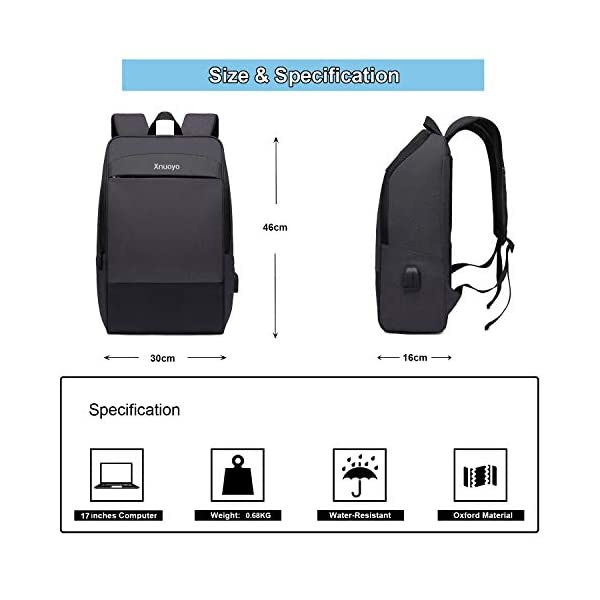 """Xnuoyo Zaino per Portatili 17.3"""" Zaino Laptop Impermeabile di Ricarica USB,Zaino per PC Portatile da Borsa per Lavoro… 3 spesavip"""