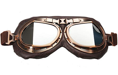 TYSKL Retro Motorcycle Goggles Helmet ATV Bike Motocross Glasses UV Protection (Silver mirrored lens)
