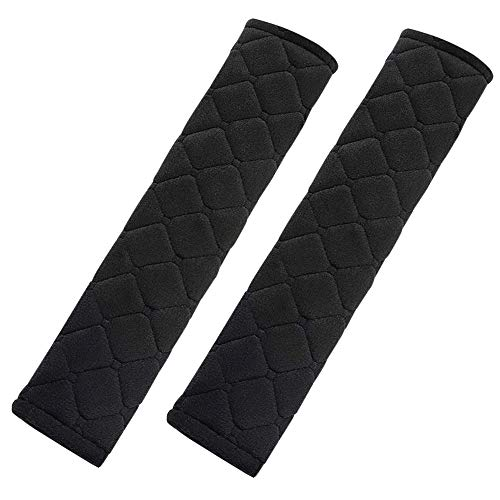 TRIXES Seatbelt Strap Cover - 2 Car Seat Belt Comfort Pads with Hook and Loop - Black Quilted Travel Cushion Seat Belt Covers