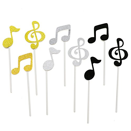 Price comparison product image HUELE 36 Pcs Musical Notes Cupcake Toppers Cake Decorating Tools for Party