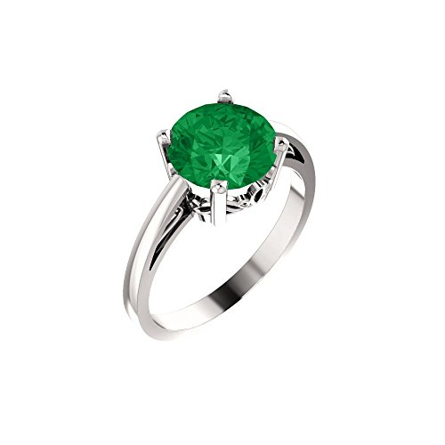 14k White Gold Chatham Created Emerald Ring - Size 7