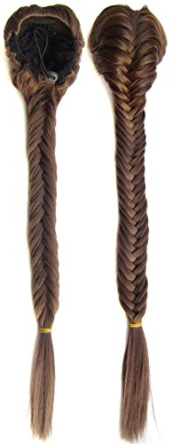 SWACC Long Fishtail Braid Ponytail Extension Synthetic Clip in Drawstring Ponytail Hairpiece (Medium Ash Brown-8#) by SWACC