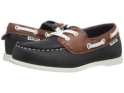carter's Ian Boy's Boat Shoe, Navy/Brown, 10 M US
