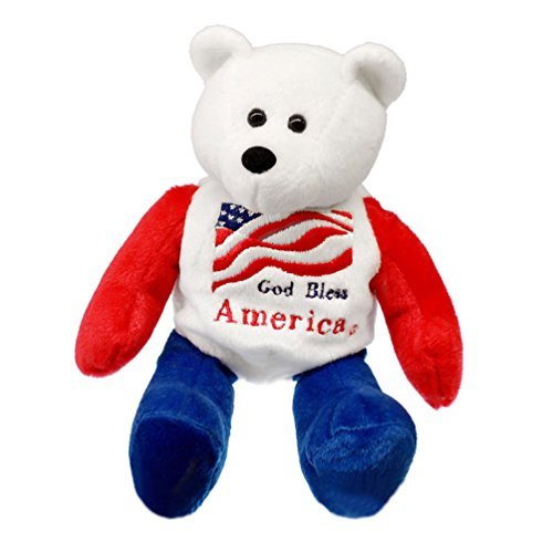 - God Bless America US Flag American Patriotic Plush Stuffed Teddy Bear Doll (8.25