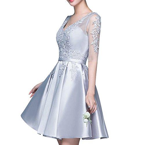 Abendkleider Tanzenkleider Partykleider Spitze Mini Silber Einfach Rock Braut Cocktailkleider Marie La aOw0XUx