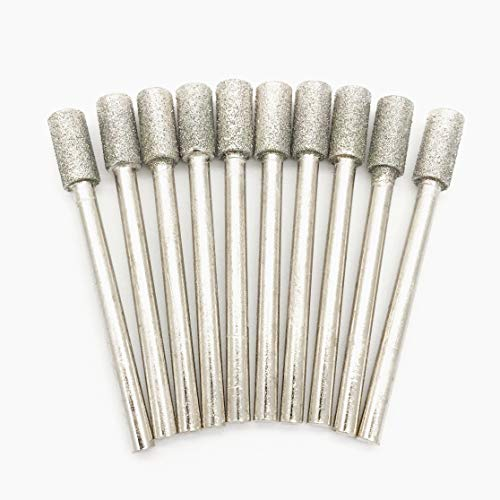 3x5mm Diamond Cylinder Burrs, 1/8inch 3mm Shank 5mm Cylinder Head Diamond Grinding Bit Mounted Point Grinder Parts 10pcs ()