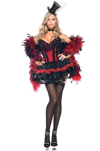 Be Wicked Speak Easy Saloon Girl Costume, Red/Black, Small/Medium