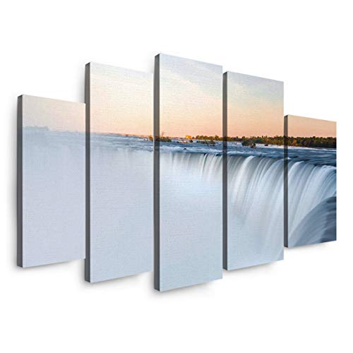 5 Panels Canvas Print Wall Art - Spectacular Niagara Falls in The Sunset - Wall Decor Pictures for Living Room Modern Artwork Stretched and Framed Ready to Hang]()