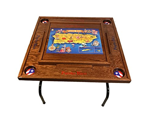 Puerto Rico Domino Table with the Map (Red Mahogany) by latinos r us