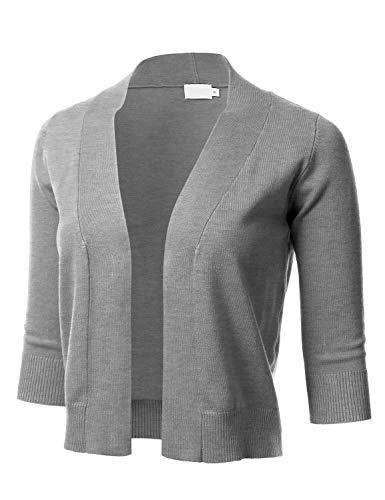 Women's Classic 3/4 Sleeve Open Front Cropped Cardigan HEATHERGREY2 M