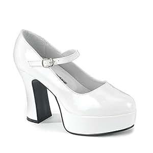 Pleaser Shoes 177740 Mary Jane- White Adult Shoes- Wide Width (accesorio de disfraz)