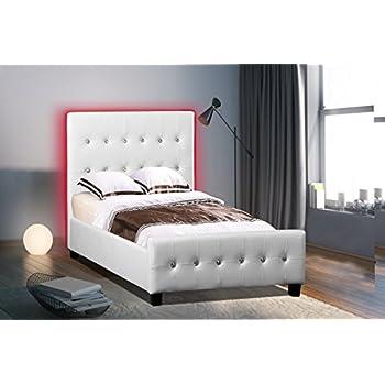 Amazon Com Poundex Pu Upholstered Platform Bed Twin
