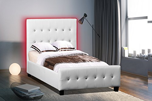 Modern Headboard Tufted Design Leather Look Upholstered Bed with LED Headboard (Twin, White) - Leather Look Frame