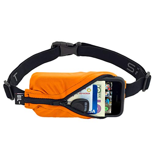 SPIbelt Running Belt Original Pocket, No-Bounce Waist Bag for Runners, Athletes Men and Women, fits Smartphones iPhone 6 7 8 X, Workout Fanny Pack, Expandable Sport Pouch, Adjustable Orange