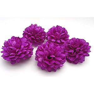 Artificial Fake Flower Silk Daisy Spherical Heads Bulk Wedding Party Home Decor Deep Purple 5x4cm 30 Pcs 60