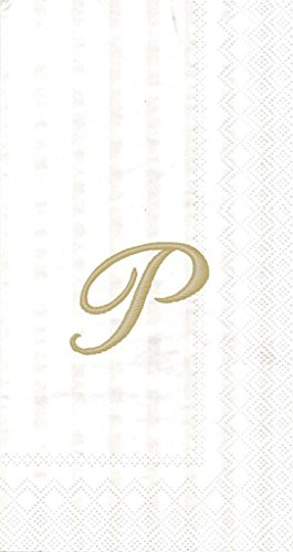 Ideal Home Range 3-Ply Paper Ivory Monogram, 16 Count Guest Towel Napkins Letter P, Set of 2