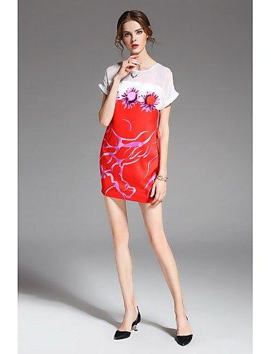 Encima Cuello Redondo JIALELE Con La Estampados Vestidos Corta Rodilla Sueltos De Manga La Por Vestido Mujer Rojo Fiesta Mujer De Florales Fiesta Tqx7UrwT