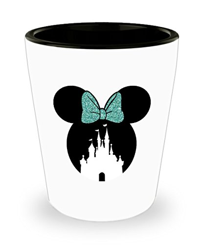 Happiest Castle Shot Glass Gift Mouse Ears Magic Green Teal Bow