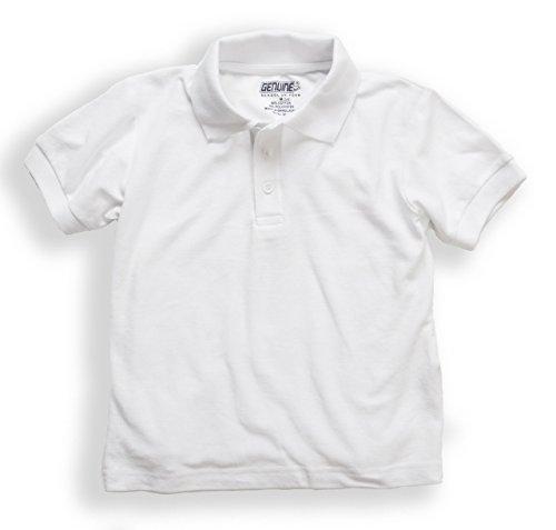 Shirt Boys Genuine ((5973) Genuine Uniforms Boys Cotton Pique Polo knit Top (Sizes 4-16) in White Size: Youth Medium (10/12))