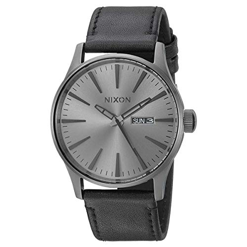 NIXON Sentry Leather A112 - Gunmetal/Black - 107M Water Resistant Men's Analog Classic Watch (42mm Watch Face, 23mm Leather Band)