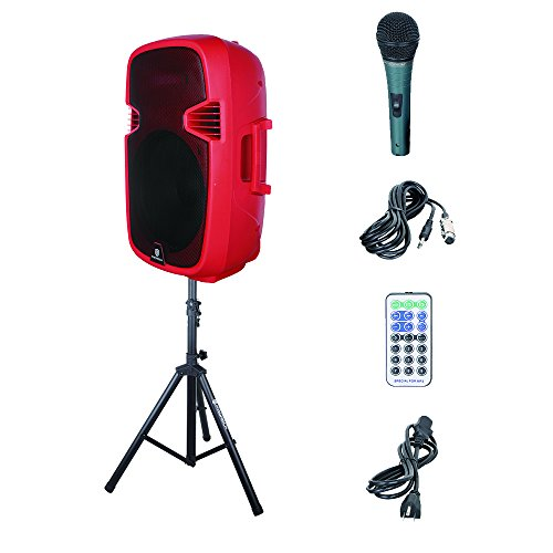 PRORECK Portable 15-inch Powered Pa Speaker System Bluetooth/USB/SD Card Reader/FM Radio/Remote Control/LED Light/Speaker Stand, Wired Microphone, 600Watt ()