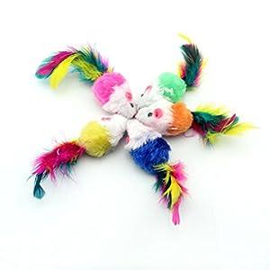 Bobury 10pcs ratón en forma de colores pluma cola decoración juguetes para gatos al azar