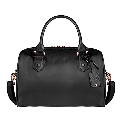(Lipault - Plume Avenue Bowling Bag - Small Top Handle Shoulder Boston Handbag for Women - Jet Black)